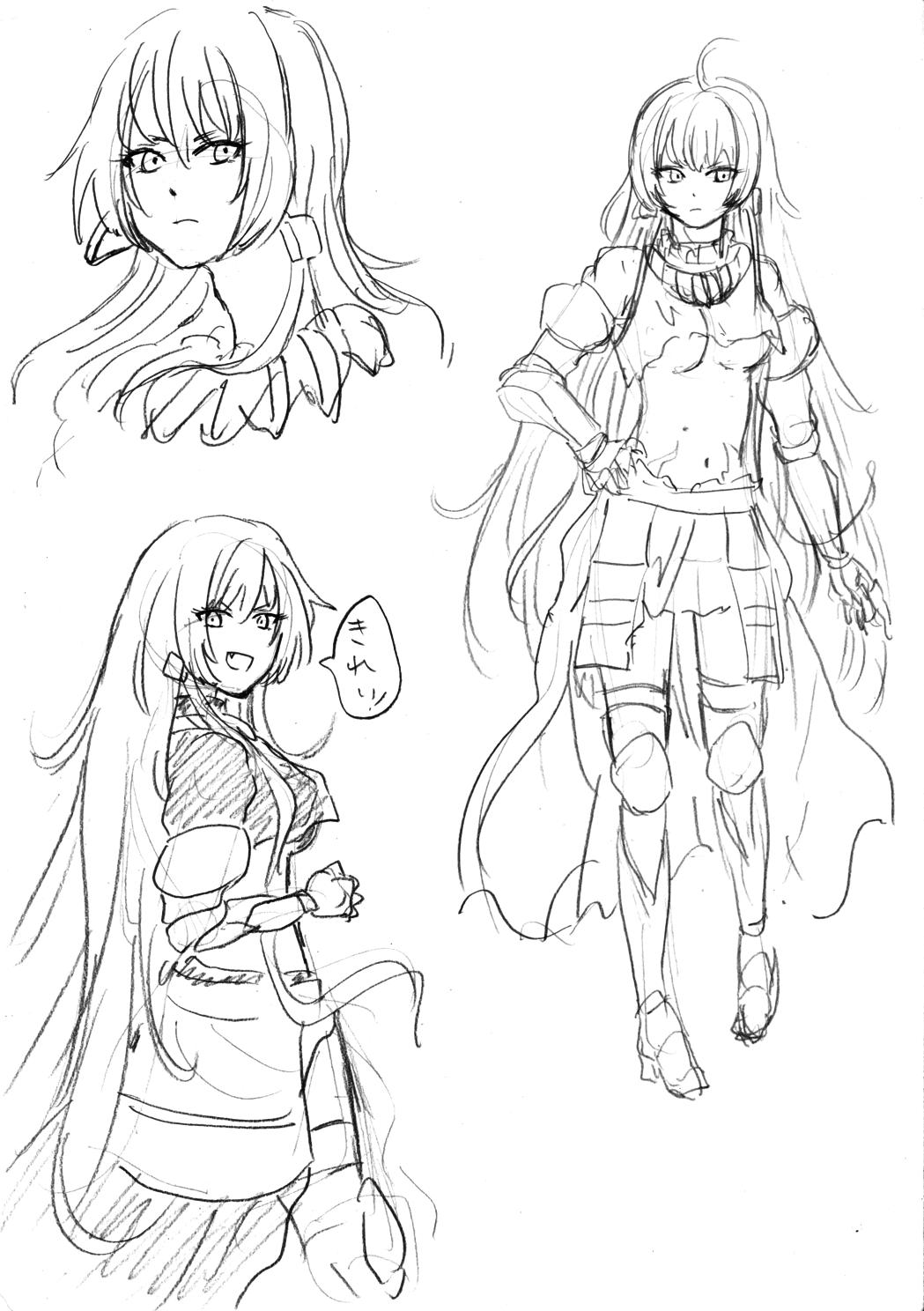 аниме девушка зарисовка