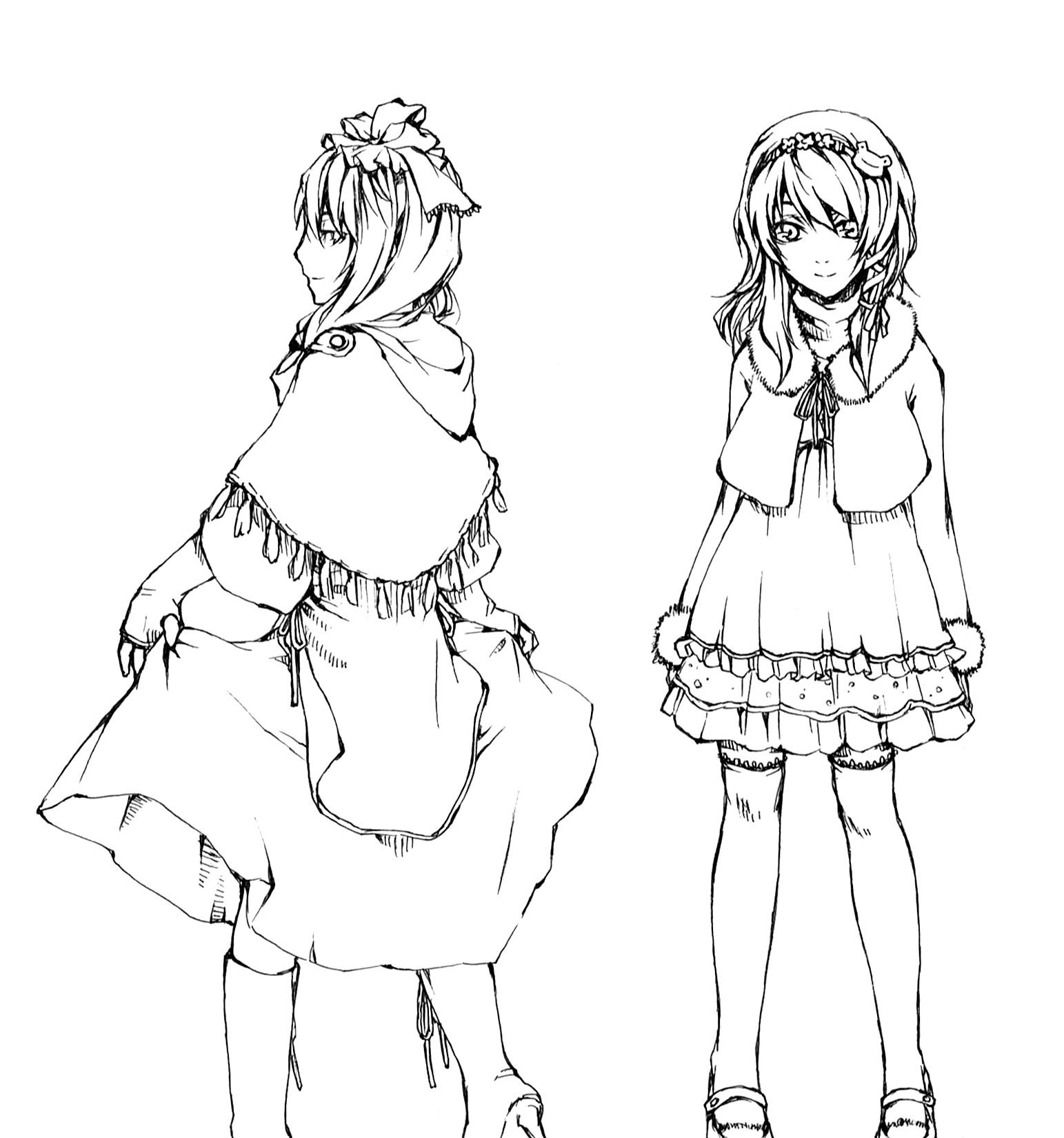 аниме девушка в платье