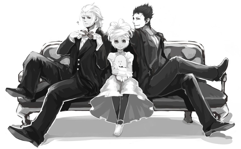 два парня и одна девушка сидят на скамейке ~ lucifel (el shaddai)