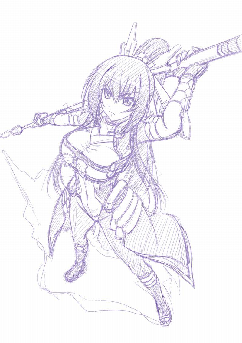 аниме рисунок карандашём ~ девушка honda futayo ~ аниме kyoukai senjou no horizon