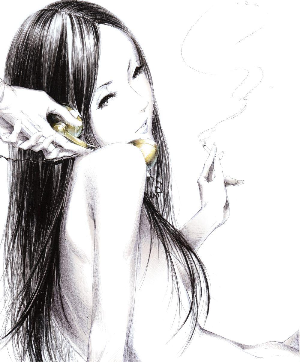 курящая девушка разговаривает по телефону sawasawa