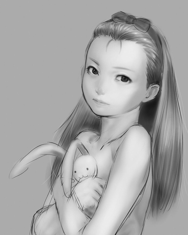 портрет девочки с зайчиком черно белая картинка minase iori