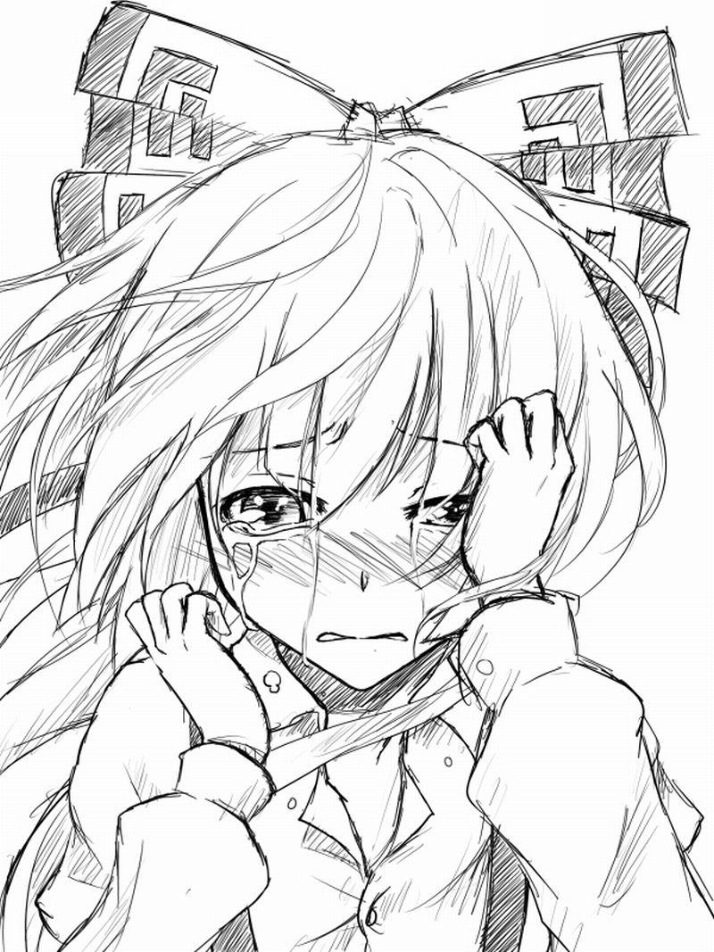 плачущая аниме девушка fujiwara no mokou